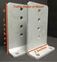 "2X - 8""x 5""x 1/4 "" Aluminum Vertical Trailer Bunk Brackets for Boat Trailers"