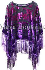 Purple Fuchsia Burnout Velvet Poncho Shawl Top Ombree Hand Dye Maya Matazaro