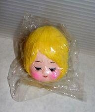 """Mid Century Vintage 1960's Fabric Face Yarn Hair Doll Head 3"""" Blonde Hair New"""