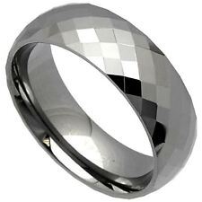 TUNGSTEN CARBIDE Diamond Faceted 8mm BAND RING, size 8 - NEW - in Gift Box!