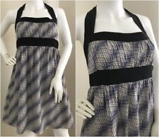 Betsey Johnson Dress Size 6 Halter Blue Stripe Silk Fit Flare w/ Pockets