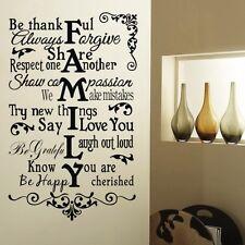 Be agradecido Familia Pegatina Pared Adhesivo Con Texto Extraíble Vinilo