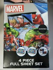 New Marvel Avengers Full Size Bed Sheet Set 4 Piece Superhero Bedding Super Soft