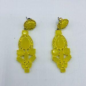 J Crew Yellow Metal Flower Dangle Earrings