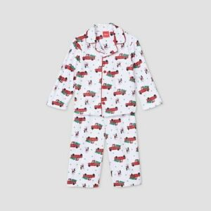 Toddler Holiday Mickey Mouse Flannel Matching Family Pajama Set - White 12 MO