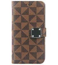 For Samsung Galaxy A21 - Brown Plaid Checker Card ID Wallet Pouch Holder Case
