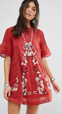 NWT FREE PEOPLE Perfectly Victorian Embroidered Lace Mini Dress Red Small $168