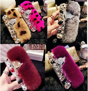 Luxury Bling Diamond Rhinestone Fox Fuzzy Rabbit Fur Case Cover for LG Stylo 6 5