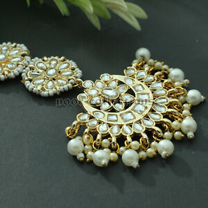 Indian Fashion Gold Plated Kundan Forehead Jewelry Maang Tikka Earring For Women