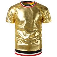 MEN'S Metallic Shiny Short Sleeve Crew Neck T-shirt Nightclub Top Tee Shirt