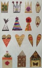Vintage Stoff Druck für Collagen, Artist Cards, Krone, Herz, Haus, ARTchixStudio