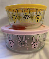 2020 Pyrex Easter Spring Storage Container Bowl 4 & 7 Cup Lid Bunnies Dogs Pigs
