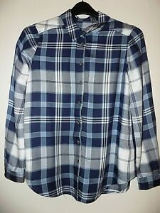 M&S NAVY MIX SOFT CHECKED SHIRT SIZE UK 10 WORN ONCE