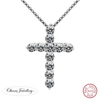 925 Solid Sterling Silver Cross Cubic Zirconia CZ Pendant Necklace Jewellery Uk