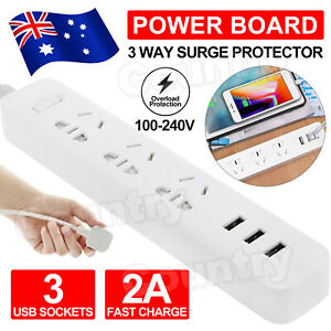 Power Board 3 Way Outlets Socket 3 USB Charging Charger Ports Surge Protector AU
