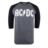 ACDC - Logo - Raglan Long Sleeve Top - Mens - Grey/Black