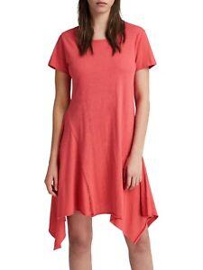 All Saints Dress XS 6 8 10  T-shirt Tunic Coral Pink Asymmetric Drape VGC RRP 88