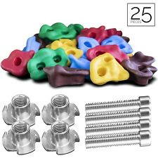 2Dfun 25 Rock Climbing Holds w/ 25 Set T-Nuts For Indoor/ Outdoor Playground Set