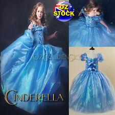 Girls Disney Cinderella Costume 2015 Birthday Party Tutu Princess Dress Up 3-10Y