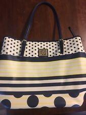 Anne Klein Tote Purse Royal Blue Polka Dot Yellow Striped Handbag Bag White