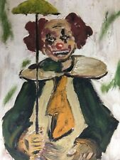 Kitchy kitsch original vintage oil painting signed clown framed canvas art 1950s
