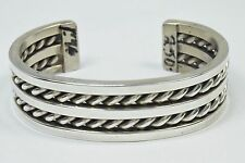 Navajo Artisian Very Well Made Square Stock Twist .925 Silver Cuff Bracelet