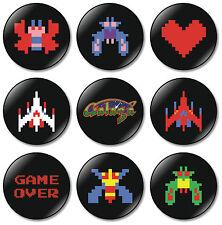 9 x Galaga 32mm BUTTON PIN BADGES Arcade Game Atari Namco Nintendo