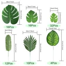 Tropical Leaves Artificial Faux Palm Fabric Monstera Plant Hawaiian Party Decor