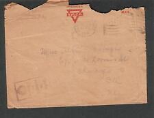 1918 WWI AEF YMCA UK Field Post Office crown censor cover FJ Koridek to Chicago