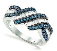 Sterling Silver Blue & White Diamond Ring Round & Baguette Diamond Band .78ct