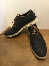 Franco Vanucci Mens Shoes Size 11 Black Oxford Brown Trim White Soles