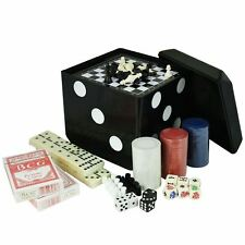 6 In 1 Game Set Giant Carry Dice Poker Cards Chess Draughts Backgammon Dominoes