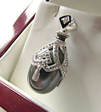 FABULOUS RUSSIAN EGG PENDANT HANDMADE OF SOLID STERLING SILVER 925 BLACK PEARL