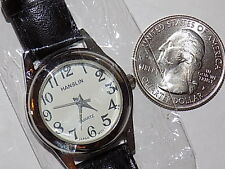 Vintage Hanslin Woman's small Silver Tone Analog Quartz Watch Hours