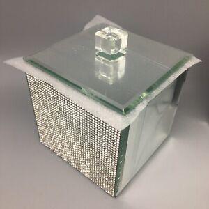 BELLA LUX Mirror Rhinestone Bathroom Cotton Ball Swab Jar Box Bling Sparkle NEW