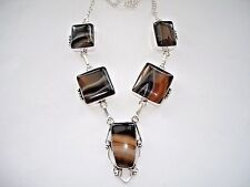 "Agate 19"" Statement Necklace Pendant Silver Ab Black Brown White Stripe Botswana"