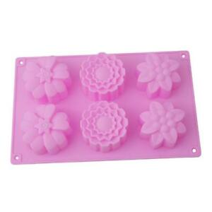 6 Flower Pattern Soap Cake Mold Flexible Silicone Candy Chocolate Mould FW