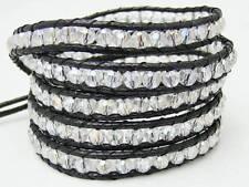 5 Wrap Bracelet all 4mm  CRYSTAL beads black cord fashion bracelet