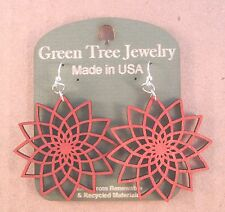 STAR FLOWER Green Tree Jewelry CHERRY RED laser-cut wood earrings Made-USA 1234