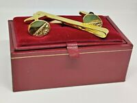 Vintage H Samuel Gold Plated Cufflinks & Tie Clip Set Boxed