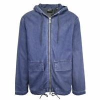 Superdry Men's Mid Blue Denim Hooded Full Zip Jacket (Retail $120)