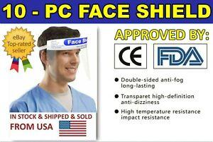 10 PCS Full Face Shield Clear Protector Work Industry Dental Anti-Fog Reusable