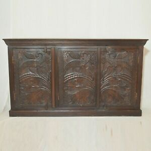 Made to Order Peacock Design Hand Carved Solid Wood Sideboard L