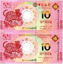 Macau Set 2 Pcs 10 Patacas 2020 Mouse Year 2021 BNU & BOC UNC NR