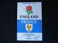 Rugby Football Union programme Angleterre/France 1981