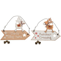 Reindeer Arrow Plaque Christmas Hanging Sign Xmas Decoration