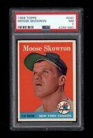 1958 Topps BB Card #240 Moose Skowron New York Yankees PSA NM 7 !!!