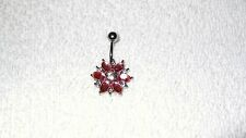 Pink Crystal Flower Design Belly Navel Ring Body Jewelry Piercing 14g Cute