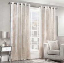 Cream Fully Lined Curtains Faux Silk Soft Touch High Quality Square Pattern New