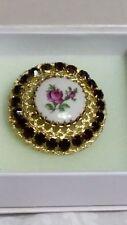 Brooch , Encased in Glass Garnet Vintage Big Floral Hand Decorated Porcelain